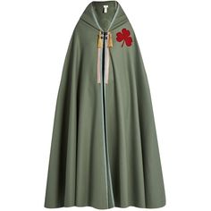 Maison Margiela Motif-appliqué felted-wool hooded cape (1,895 NZD) ❤ liked on Polyvore featuring outerwear, cape, light green, green hooded cape, green cape coat, military capes, maison margiela and cape coat