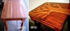 Tree stained side table