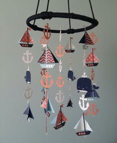 Coral Tangerine Navy Baby Blue Adorable Nautical by magicalwhimsy