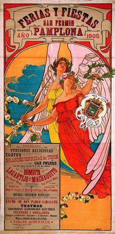 Cartel de los Sanfermines de 1905 - Ferias y fiestas de San Fermín, Pamplona. #Pamplona