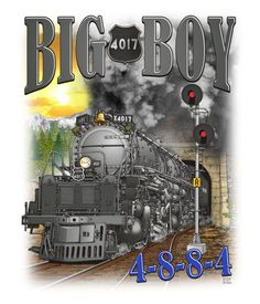 "Union Pacific ""Big Boy"", Articulated Steam Locomotive 4017, ""Exiting a Tunnel"" Drawing"