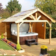 Hot Tub and Garden Gazebos and Swim Spa Gazebos Hot Tub Gazebo, Hot Tub Backyard, Backyard Pools, Pool Decks, Hot Tub Garden, Garden Gazebo, Tub Enclosures, Gazebo Plans, Diy Pergola