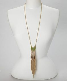 Take a look at this Gold Bead Chain Tassel Necklace by C.O. International on #zulily today!