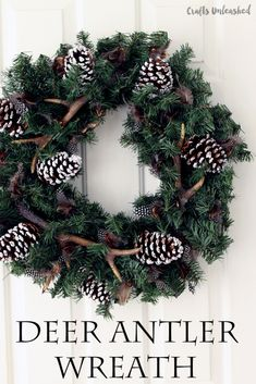 Make this winter wreath with deer antlers for your home!  A simple wreath that will last through fall and winter.