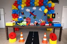 Decoration for kids party - New decoration styles First Birthday Themes, Trains Birthday Party, Happy Birthday, 1st Boy Birthday, 2nd Birthday Parties, Party Mottos, Transportation Birthday, Decoration Party, Party Ideas