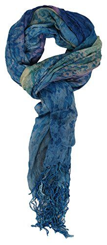 Love Lakeside-Women's Impressionist Watercolor Crinkle Scarf Bright Blue. 100% Viscose. Beautiful colors meld into one another. A wearable piece of art. Lightweight, perfect for t-shirts and sweaters alike. 66 inches long by 24 inches wide with 3 inch knotted string fringe, crinkle texture.