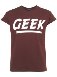 Really liking the rolled up sleeves - Burgundy 'GEEK' Mens T-Shirts, Topman
