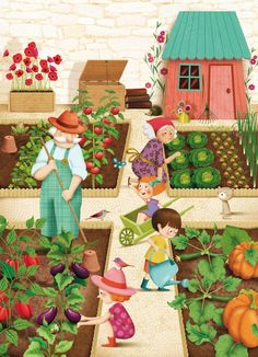 jardinage: Awesome illustration for creative writing inspirations. Art And Illustration, Illustrations And Posters, Art Fantaisiste, Picture Composition, Poster S, Naive Art, Whimsical Art, Garden Art, Cute Art