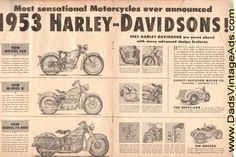 Harley-Davidson's announcement of their 1953 models presents, we feel, probably the most attractive bid for the riders' business ever made in their long and illustrious history. Description from dadscyclemags.com. I searched for this on bing.com/images