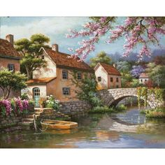 DIMENSIONS PAINTWORKS - Country Village Canal Paint by Number Craft Kit