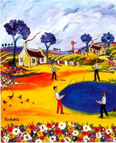 Portchie - Gone Fishing. I luv his blue trees and bright colours! Blue Trees, South African Artists, Gone Fishing, Dream Art, Bright Colours, Windmills, Heart Art, Naive, Brush Strokes