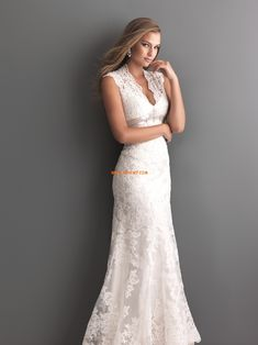 Frühling 2014 V-Ausschnitt Spitze Brautkleider 2014