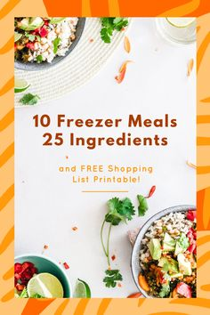 Make 10 freezer meals using just 25 ingredients! Shopping list included! Chicken And Cheese Recipes, Pork Recipes, Raw Food Recipes, Drink Recipes, Mexican Food Recipes, Vegetarian Recipes, Freezer Meals, Freezer Cooking, Cooking Tips