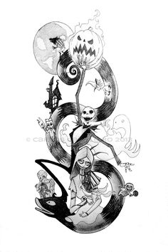 the pumpkin king www.carloscabaleiro.com #pencils #art #artwork #tattoo #timburton #nightmarebeforechristmas #halloween #christmas #lockshockandbarrel #zero #sally #jack #skellington #disney