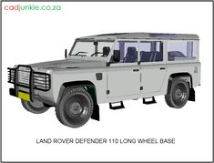 3D Vehicle: Land Rover Defender 110 Long Wheel Base CAD Format: AutoCAD 2013 Block Type: 3D Mesh Units: mm Autocad, 3d Mesh, 3d Cad Models, Land Rover Defender 110, Cad Blocks, Base, Vehicles, Car, Vehicle
