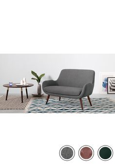 MADE 2 Seater Sofa, Marl Grey. Express delivery. Fabric. Moby 2 Seater Sofas Collection from MADE.COM...