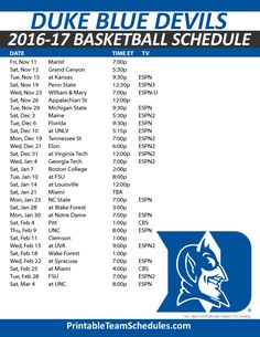 Ridiculous image regarding duke basketball schedule printable