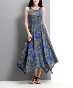 This Charcoal Floral Handkerchief Maxi Dress - Plus by Reborn Collection is perfect! #zulilyfinds