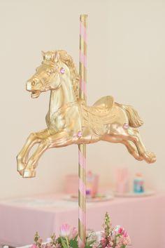 Carousel Pony Table Centerpiece from a Pink Carousel Birthday Party via Kara's Party Ideas! KarasPartyIdeas.com (12)