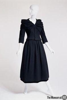Brand: Christian Dior French, founded 1947 Medium: Black wool and velvet Date: Fall 1956 Country: France