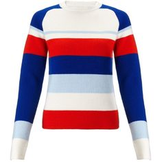 J.W.Anderson Striped Raglan Jumper (3.492.695 VND) ❤ liked on Polyvore featuring tops, sweaters, shirts, blue, heavy sweaters, raglan sleeve shirts, blue jumper, blue stripe shirt and round neck sweater