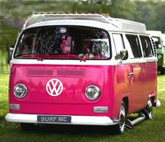 vw bus in pink