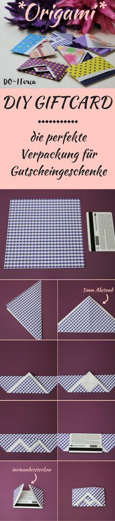 Du suchst noch nach einer perfekten Verpackung für ein Gutscheingeschenk. Bastle dir ganz einfach so eine DIY Origami Giftcard Verpackung. Die Anleitung und noch weitere Origami Giftcard Varianten findest du auf www.doiteria.com