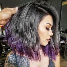 Gray lob with purple balayage.