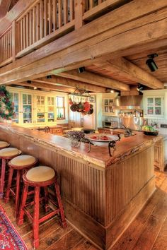 I like all the wood in this kitchen, very cozy by Gmomma
