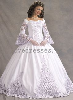 wedding dresses ball gown with sleeves - Google Search///I dont know why Im pinning this other than the fact I love it.  It would make me look like the queen I am. ;) LOL