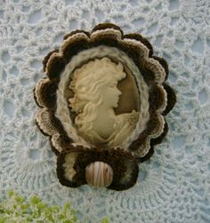 Victorian Young Lady Cameo Brooch Hand Crochet Brown Ivory Mohair Cotton Trim Bow Detail. $18.99, via Etsy.