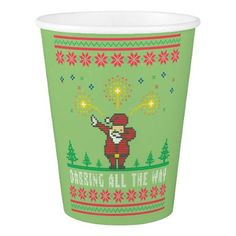 Dabby Christmas Santa Claus Ugly Christmas Sweater Paper Cup  $1.80  by uglysweaterparties  - cyo diy customize personalize unique