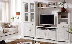 Mueble blanco salón clásico, mueble para tv y vitrinas 270x192x40