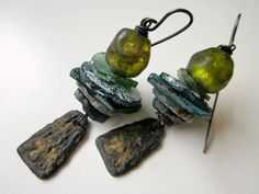 Whistle in the Dark - primitive assemblage cosmic olive green lampwork glass Basha bead, ancient Roman glass stack, pewter, copper earrings by LoveRoot