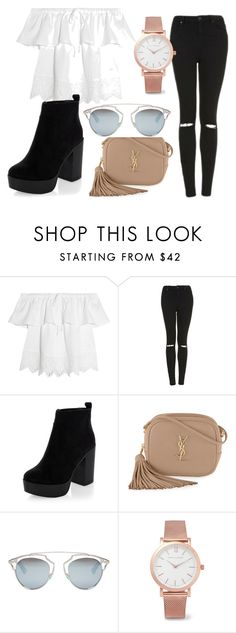 """""""GoodVibes"""" by haruko-orozco ❤ liked on Polyvore featuring Madewell, Topshop, New Look, Yves Saint Laurent, Christian Dior and Larsson & Jennings"""