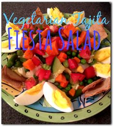 vegetarian fajita fiesta salad, fiesta salad, vegetarian, eggs, cracker chips, homemade chips, healthy chips, salad recipe