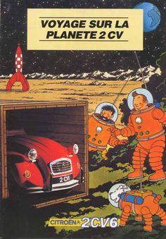 """Brochure Tintin  couverture """" Voyage sur le Planete 2CV"""""""