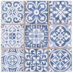 Carrelage ancien mat bleu 33 x 33 cm - FS1104006 Plus de découvertes sur Déco Tendency.com #deco #design #blogdeco #blogueur