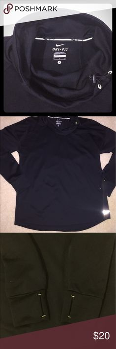 Nike Running Fleece with Cow Neck Super cute. Light weight. Slim cut. Black. Size WOMENS SMALL. Only been worn twice! Great condition. Thumb holes. The thread at the neck and thumb hole are lime green. They look white in the photos shown. Only two spots with lime green fabric. Great for the early morning runs or for a chilly workout. Nike Tops Sweatshirts & Hoodies