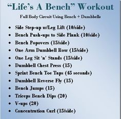Full body circuit using bench and dbells