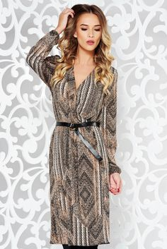 """StarShinerS brown daily cloche dress from elastic fabric accessorized with belt, accessorized with belt, """"V"""" cleavage, elastic waist, without clothing, long sleeves, elastic fabric, thin fabric, flaring cut"""