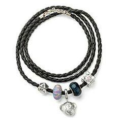 Think Geek Leather Wrap Charm Bracelet