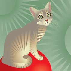 Custom Cat Portrait Full body Print by RyeAndOlive on Etsy