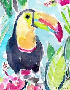 Tory thinks everyone is his friend these days and maybe that is the way to go about life. Let other birds in with a wide open beak and yet trust your quick instincts. If something smells like rotting fruit it is probably unwise to eat it. Toucan Craft, Watermelon Painting, Oil Pastel Art, Feather Art, Colorful Animals, Tropical Birds, Watercolor Bird, Barbarian, Bird Art