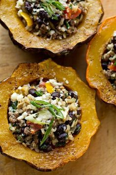 Stuffed Acorn Squash: filled with brown rice, black beans and sharp cheddar. #autumn #vegetables #squash