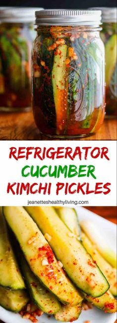 Spicy Korean Cucumber Kimchi Refrigerator Pickles Recipe Spicy Korean Cucumber Kimchi Refrigerator Pickles – spicy and a little sour, these pickles are easy to make – I leave them out on the counter to ferment for one day, then refrigerate them Korean Cucumber, Cucumber Kimchi, Pickled Cucumber Recipe Asian, Cucumber Canning, Refrigerator Pickle Recipes, How To Make Pickles, Making Pickles, Homemade Pickles, Pickles Recipe