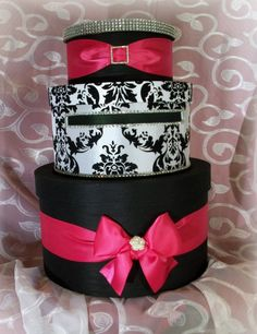 Wedding Card Box Black & Pink Damask Money by IlaLouiseDesigns, $96.00