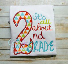 All About 2nd Grade Applique Design - pinned by pin4etsy.com