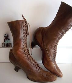 Antique Lace Up Boots Shoes Circa 1890