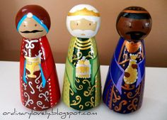 A Peg Doll Nativity (more craftiness show and tell)...posted by Theresa...I finished my first ever peg doll painting project! I've always admired the sweet little figures on Etsy and at craft fairs, and in fact w...